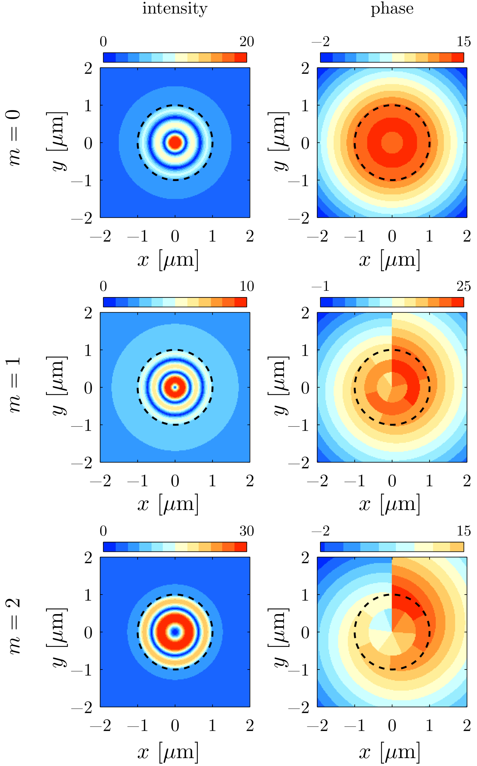 Pseudocolor plots for intensity and phase distributions of perfectly absorbed nonlinear vortices on an absorbing circular layer for