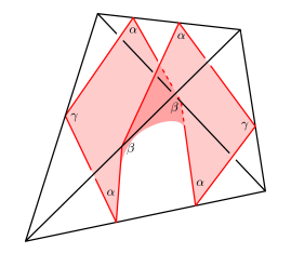 An octagonal disc from an almost normal surface meeting the edge with angle
