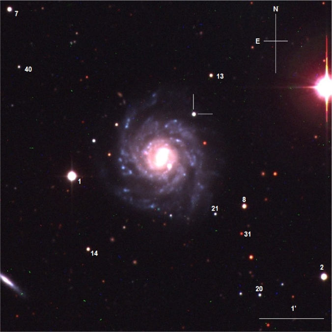 A composite optical image of UGC6510 with the position of SN2006V indicated, along with the orientation, the scale and some local sequence stars. The optical images were taken with the Swope telescope.