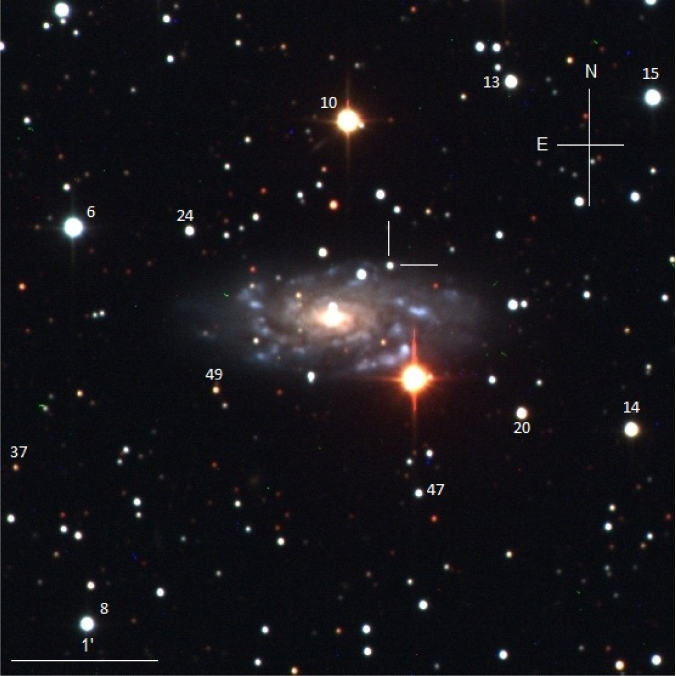 A composite optical image of UGC11057 with the position of SN2006au indicated, along with the orientation, the scale and some local sequence stars. The optical images were taken with the Swope telescope.