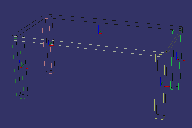 3D visualization of the kitchen table.