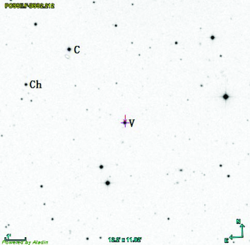 Star map of PZ UMa with its field of view to be 12.2