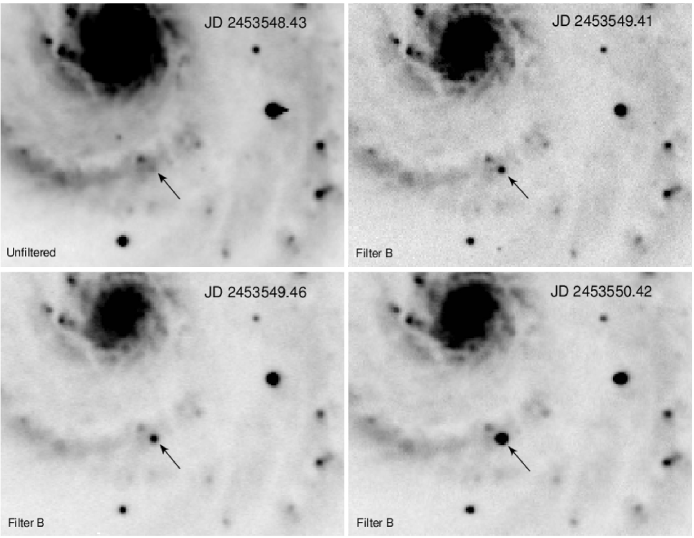 Images of the site of explosion of SN 2005cs between June 26th and 28th, 2005, taken by M. Fiedler with his 0.35-m Telescope. The first unfiltered image (top-left, resulting from the combination of 10 individual images of 600s each) was obtained on June 26 at an average UT=22.3, which is near the expected time of the shock breakout. The other B band images, obtained during the subsequent 2 days, show the rapid brightening of SN 2005cs.