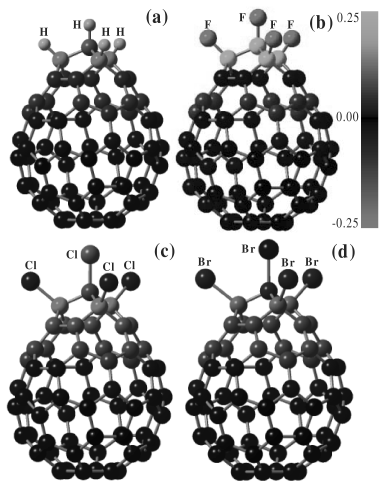 Schematic structures and Mulliken atomic charge populations of C