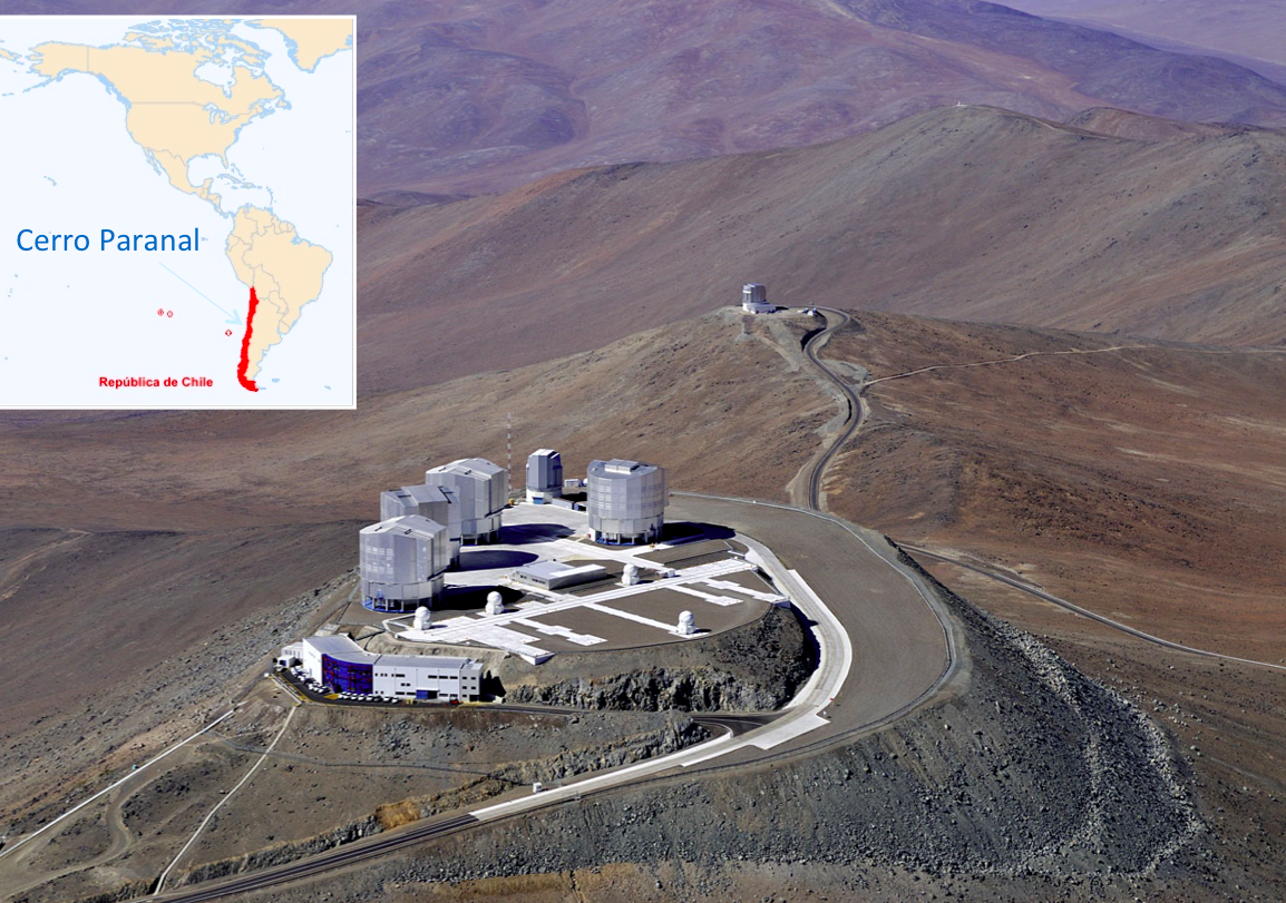 The Very Large Telescope Interferometer (VLTI) at the top of Paranal (Chile, ©ESO).