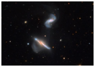 Optical image of the interacting pair NGC6286 (bottom)/NGC6285 (top) obtained with the Schulman 32-inch Telescope of the Mount Lemmon SkyCenter. Image courtesy of Adam Block (Mount Lemmon SkyCenter/University of Arizona).