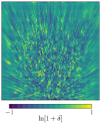 Qualitative comparison of reconstruction methods in the test series A2, for which we create mock data from individual simulation snapshots, apply an even source distribution and add negligible shape noise. We show central slices through the 3-dimensional fields. The observer is located in the center of the