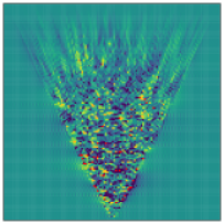 Results of test B, reconstructions of a redshift-dependent density field on the observer's light cone from mock data with a realistic source distribution but negligible shape noise. We show central slices through the