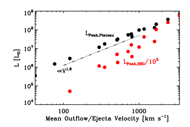 Correlation between the peak luminosity during the plateau phase (black dots) and the mass-weighted average ejecta velocity. We also show the correlation for the peak luminosity at shock breakout (red dots; scaled down by a factor of 1000 for convenience). Note that we include models from Tables1 and 2. We overplot the line