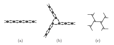 (a) simple walk; (b) spider walk; (c) a spider web. At each point, there are two equiprobable moves.