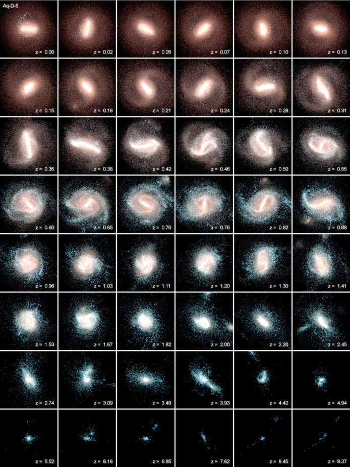 Time evolution sequence of the formation of the Aq-D-5 galaxy (as in Fig.