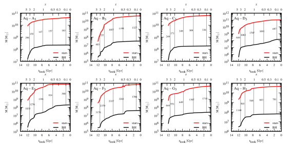 Evolution of the galaxy's stellar (red lines) and central BH (black lines) masses, as a function of look-back time and redshift, for the eight Aquarius haloes. The stellar masses are computed as the sum of the mass of each star particle within