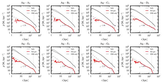 Spherically averaged dark matter (grey lines) and hot gas (