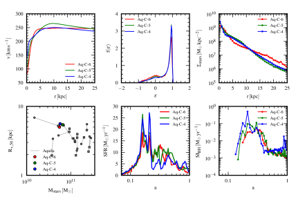 Comparison of the results obtained for the Aq-C halo at three different levels of numerical resolution, spanning a dynamic range of 64 in mass: Aq-C-6 (red), Aq-C-5 (green) and Aq-C-4 (blue). The six panels show: the circular velocity profiles (top left), the circularity distributions of stellar orbits (top middle), the stellar surface density profiles (top right), the relation between stellar half-mass radius and stellar mass (bottom left), the SFR history (bottom middle) and finally, the growth rate of the central supermassive BH (bottom right). In the comparison of