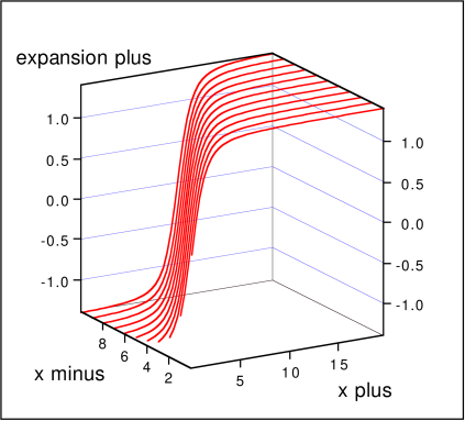 Static wormhole configuration obtained with the highest resolution calculation: (a) expansion