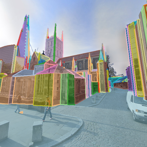Images and generated 3D information from sampled viewpoints of HoliCity dataset. From top to bottom: perspective images rendered from panoramas, surface segments overlaid with images, CAD model renderings, and semantic segmentation.