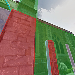 perspective images overlaid with surface segments from