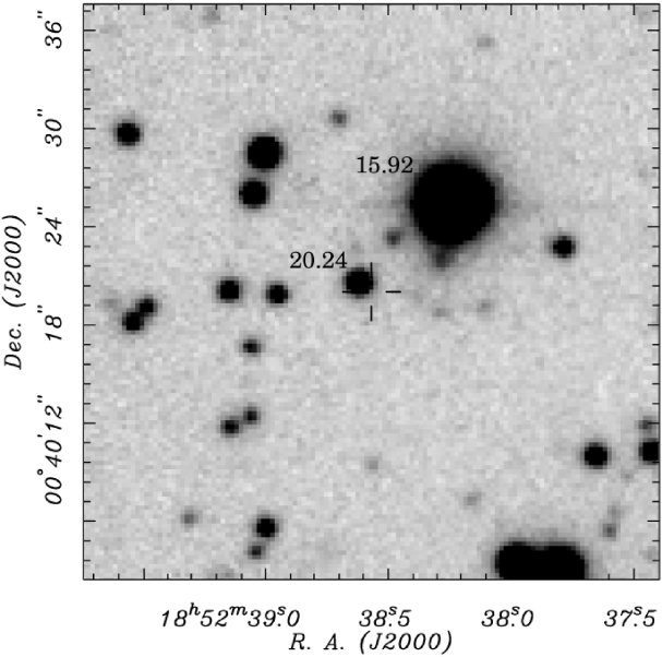 -band CCD image at the location of PSR J1852+0040 in Kes79 obtained with the 2.4m Hiltner telescope. Seeing is
