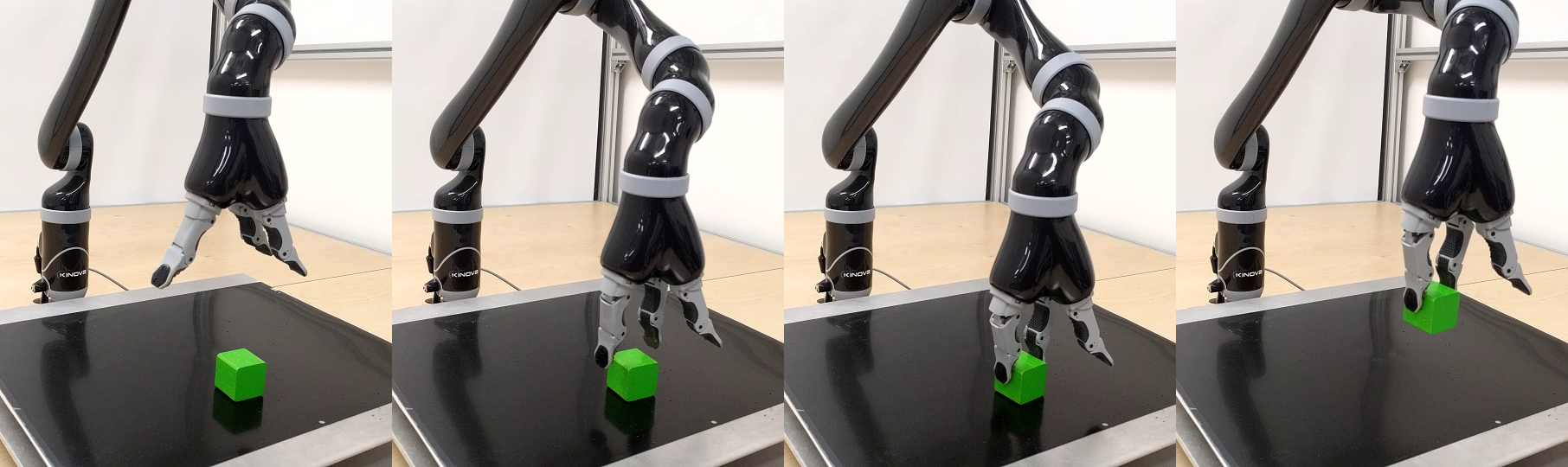 Image sequence depicting a trained SAC-Q agent on the real robot solving the bring (top) and lift (bottom) task.