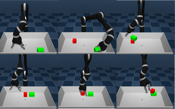 Depiction of the agent stacking two blocks in either configuration, red above green or vice-versa.