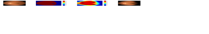 An example of the non-uniform illumination synthesis. From left to right are the well-lit retinal image, the coarse illumination mask, the smoothed illumination mask, and the synthetic retinal image. Different color represents different values in the illumination masks that are represented by heatmaps.