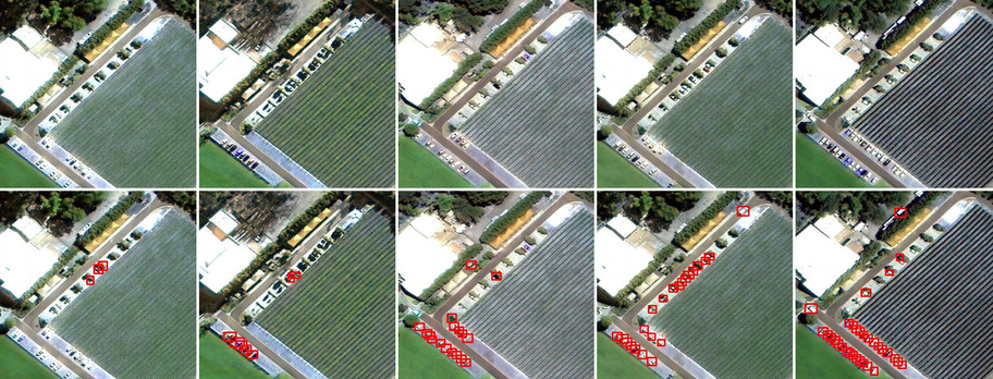 Framework detection results (bottom row) for multiple temporal views of a same region (top row) for a small variation in the flow of vehicles. The samples are sorted from left to right in a non-decreasing order of the number of detected vehicles.