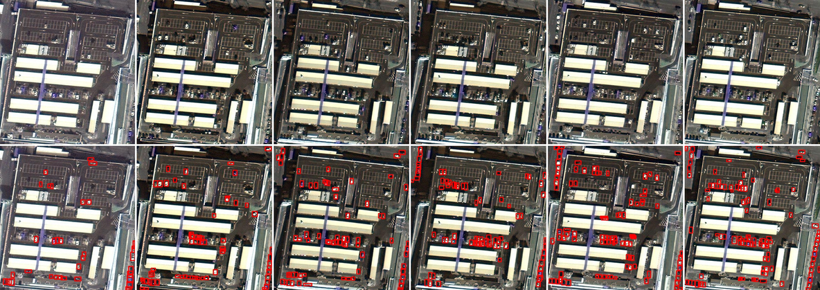 Framework detection results (bottom row) for multiple temporal views of a same region (top row) for a medium variation in the flow of vehicles. The samples are sorted from left to right in a non-decreasing order of the number of detected vehicles.