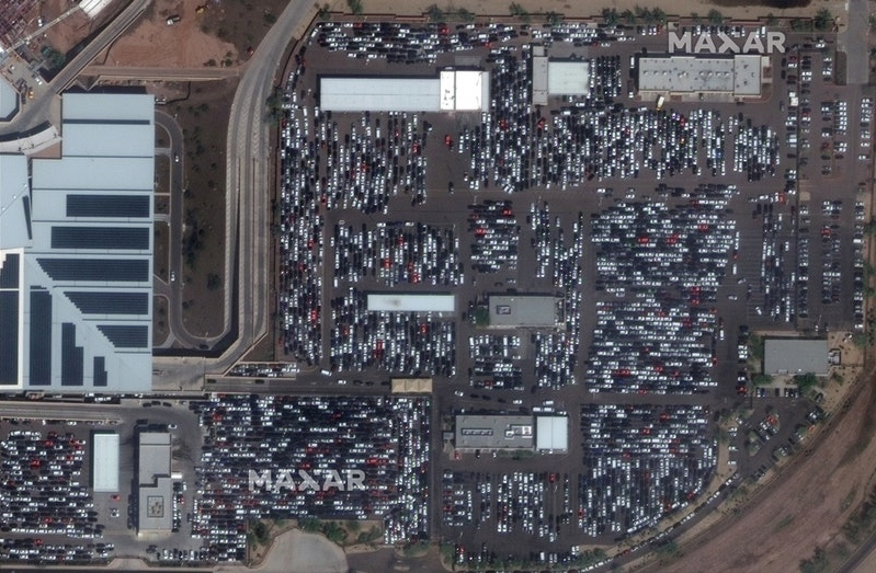 Satellite imagery from world scenes before and after the COVID-19 outbreak and statistics about vehicles/infrastructure available. In order to avoid a large number of detections we are showing the results for some selected categories for a classification confidence threshold of