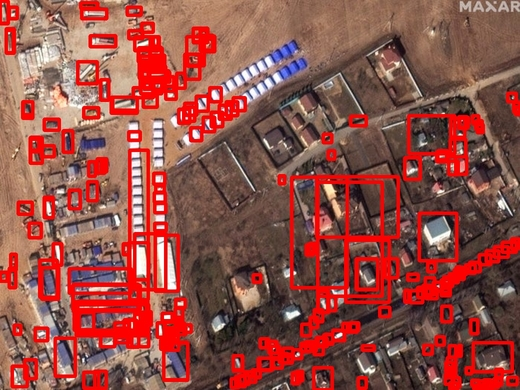 Satellite imagery from world scenes related to the COVID-19 pandemic and statistics about vehicles/infrastructure available. In order to avoid a large number of detections we are showing the results for some selected categories for a classification confidence threshold of