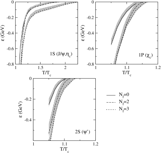Binding energy of charmonium states above the deconfinement temperature. The lines show the results for