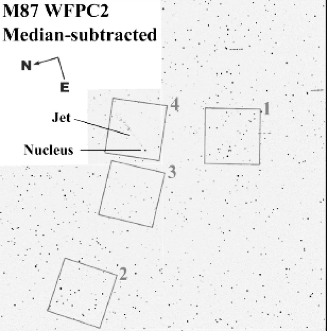 The four HST/STIS far-UV fields that were observed superimposed on a WFPC2 image of the inner region of M87. To remove the diffuse background, a median filtered image was subtracted from the original WFPC2 image. The entire field of view of the image is 160″