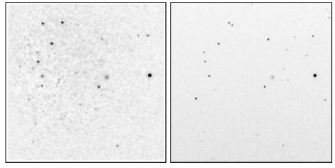 Same as Figure 2a but for Field 2. A background galaxy is at right center.