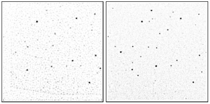 Same as Figure 2a but for Field 3. Because of the strong background gradient in this field, we subtracted a median-filtered image from both panels. The irregular shading in the FUV-MAMA image is a result of co-adding images with two different position angles.