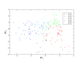 Distribution of the clusters in the clustering space projected onto the