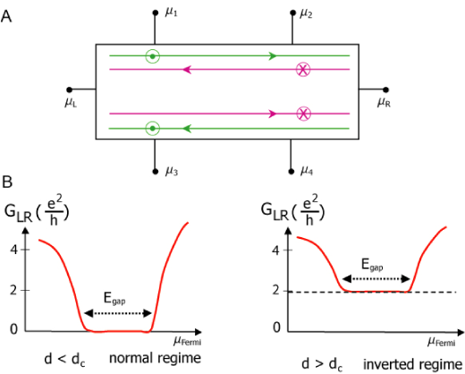 (A) Experimental setup on a six terminal Hall bar showing pairs of edge states with spin up (down) states green (purple). (B)A two-terminal measurement on a Hall bar would give