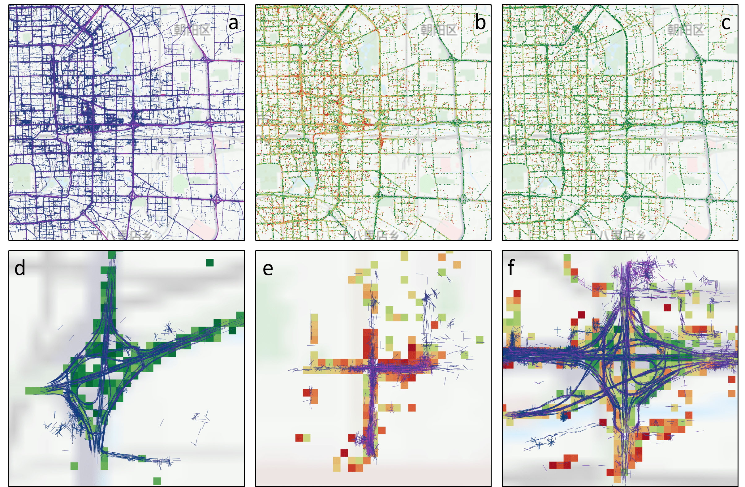 Images from the city dataset. a) One day's worth of trajectory data in the eastern part of the city colored according to speed. Blue points represent slower vehicles while purple/pink points represent faster vehicles. b/c) Traffic levels at 6pm (rush hour) and 9pm (after rush hour) respectively. Low traffic areas are shown in green while high traffic areas are shown in orange/red. d) A feature extracted from the data representing a low traffic highway intersection. The blue trajectories indicate taxis taking an indirect route to their destination. e) A feature representing a high traffic local city intersection. The purple/pink trajectories indicate taxis taking a direct route to their destination. f) A feature representing a different highway intersection which contains both high and low traffic regions as well trajectories taking both a direct and indirect route. For more information see Section