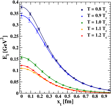 (color online). Behavior of the longitudinal chromoelectric field at a fixed lattice size