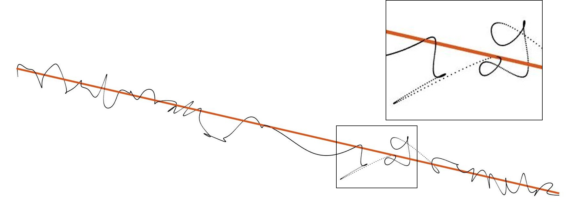 A single radial trajectory is shown with its initialization. Notice the density at the high curvature parts of the black curve.