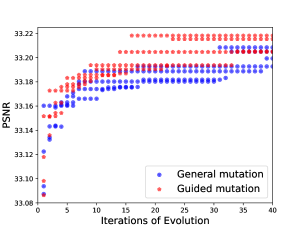 Evolutionary architecture search with different mutation strategies.