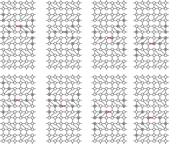 Generators for the group of cone symmetries of the (3,4,6,4) lattice. Shown is a tensor network description of the (3,4,6,4) lattice with the physical indices suppressed. The