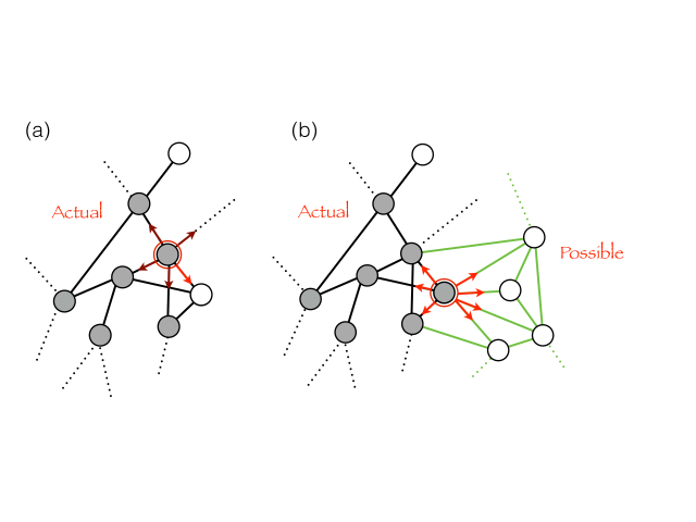 Mathematical illustration of the adjacent possible in terms of a graph that conditionally expands from the situation depicted in (a) to that depicted in (b) whenever a walker visits a node for the first time (the white node in (a)).