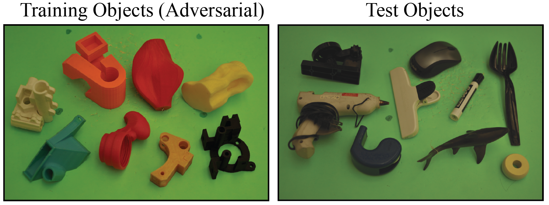 (Left) Training set of 8 objects with adversarial geometric features such as smooth curved surfaces and narrow passageways for grasping on known objects. (Right) Set of 10 household and office objects not seen during training. The dataset was selected to test performance on challenging objects of varying material, geometry, and surface reflectance properties.