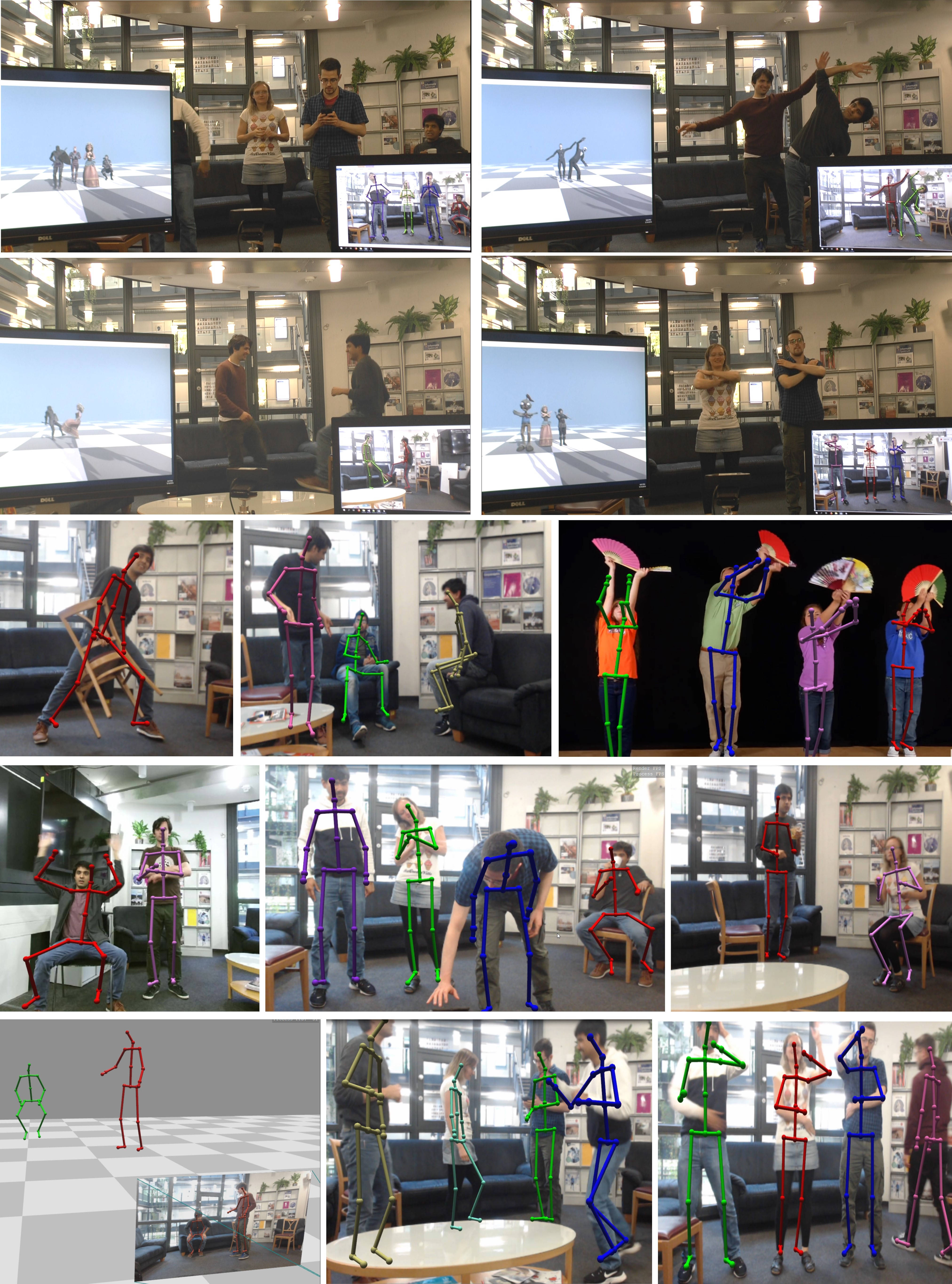 Real-time 3D motion capture results on a wide variety of multi-person scenes. Our approach handles challenging motions and poses, including interactions and cases of self-occlusion. The top two rows show our live system tracking subjects in real-time and driving virtual characters with the captured motion. Please refer to the supplemental video for more results.