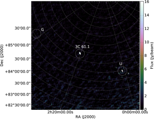 Two snapshots created during Stewart's experiment. Stewart added a transient to an existing LOFAR dataset which he then ran through the SIP. He found that when he placed the unmodelled transient in some positions (left image) no anti-ghost formed, but when he placed it at other locations a bright anti-ghost appeared (right image).
