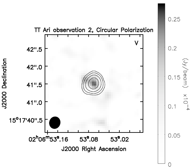 Stokes V (circular polarization) images for observation 1 (left) and 2 (right) of TT Ari. Stokes I contours are drawn at