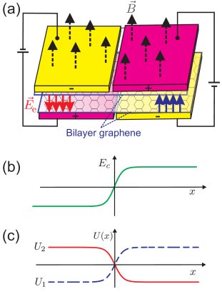 (Color online) (a) Schematic illustration of the non-uniformly gated bilayer graphene device for the creation of a kink potential. Applied gated voltage to the upper and lower layers with opposite sign induces an electric field