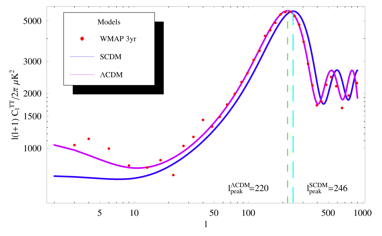 The 3-year WMAP binned data along with a theoretical flat