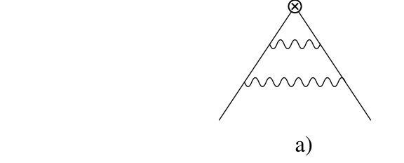 Diagrams with standard, a), and scalar quarks, b).
