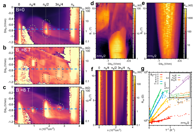 Magnetic field response of the displacement-field-tunable correlated insulator states in TBBG. (a-c) Resistance plot for the
