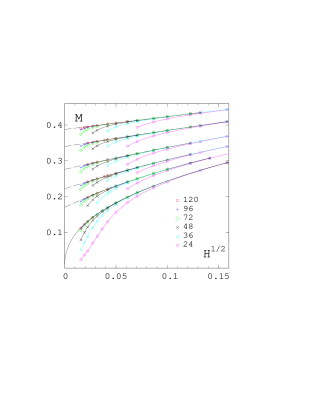 The magnetisation in the broken phase as a function of